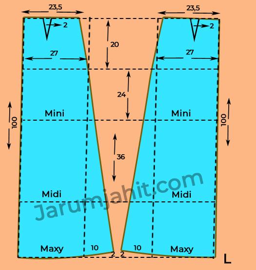 Pola Dasar Rok A Line L
